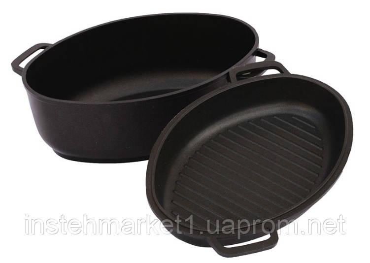 Гусятница БИОЛ Г601П (6 л) с крышкой-сковородой с ровным или рифленым дном