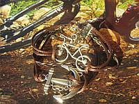 Вело-браслет (шамбала) с Якорем и Велосипедом (коричневый), фото 1