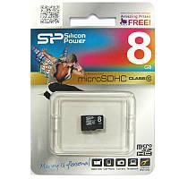 Карта памяти   micro-SDHC 8Gb SiliconPower Class10 no box
