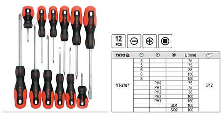 Набір викруток (12 одиниць) YATO YT-2787, фото 2