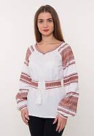 Женская вышиванка белая с красной вышивкой