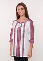 Женская блузка вышитая с красным орнаментом