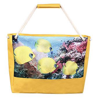 Сумка пляжная Желтые рыбки