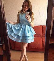 Платье приталенное мини с многослойной юбкой