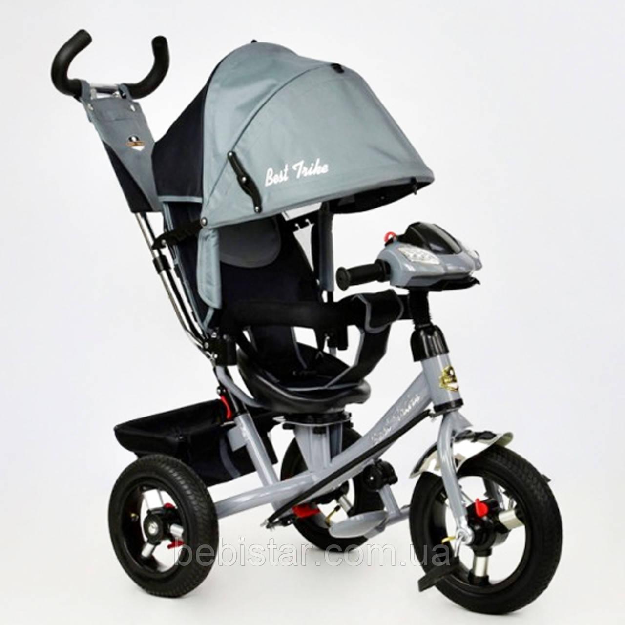 """Детский трехколесный велосипед """"Best Trike7700В"""" с музыкальной панелью и фарой, цвет: серый"""
