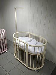 """Овальная кроватка-трансформер """"Компакт"""" 8 в 1 в цвете слоновая кость"""