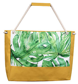 Пляжная сумка Листья пальмы желтая