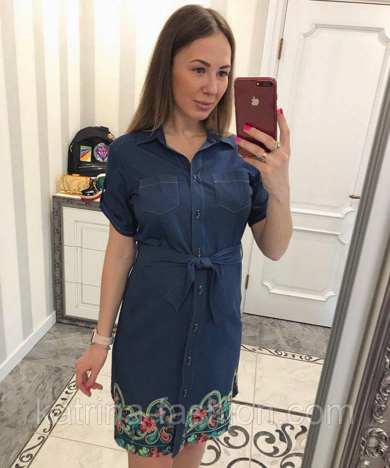 Женское стильное джинсовое платье-рубашка с вышивкой (2 цвета)