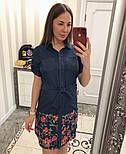 Женское стильное джинсовое платье-рубашка с вышивкой (2 цвета), фото 5