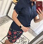 Женское стильное джинсовое платье-рубашка с вышивкой (2 цвета), фото 6