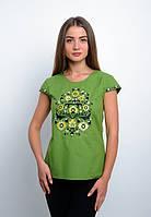 Зеленая вышиванка, короткий рукав, фото 1
