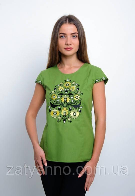 Зеленая вышиванка, короткий рукав