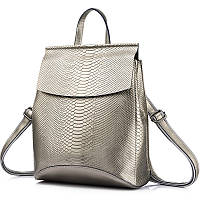 Рюкзак сумка трансформер женский кожаный с тиснением под рептилию (серебристый), фото 1