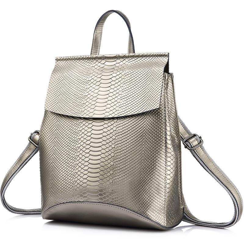 Рюкзак сумка трансформер женский кожаный с тиснением под рептилию  (серебристый) - Интернет-магазин 58c0e11ef29