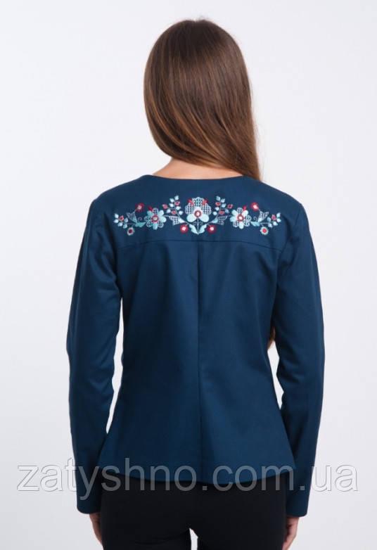 Пиджак без карманов вышитый  модный