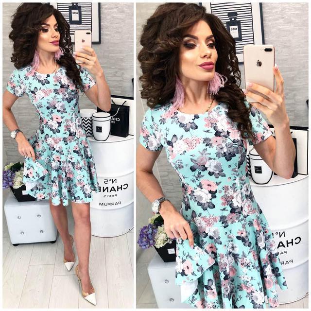 Платье короткое ,летнее, модель 103, цветочный принт на мятном фоне