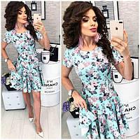 Платье короткое ,летнее, модель 103, цветочный принт на мятном фоне, фото 1