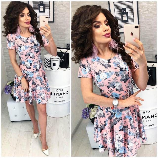 Платье короткое ,летнее, модель 103, цветочный принт на розовом фоне