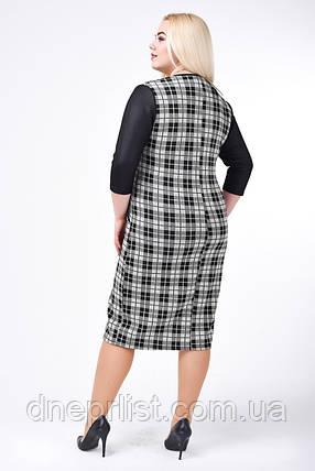 Платье женское Клетка (р. 52-58) серый, фото 2