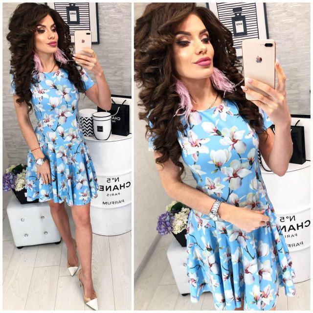 Платье короткое ,летнее, модель 103,  принт Лилия на голубом фоне
