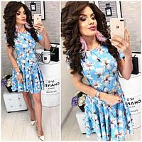 Платье короткое ,летнее, модель 103,  принт Лилия на голубом фоне, фото 1