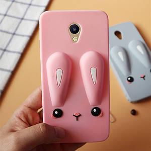 Чехол Funny-Bunny 3D для Meizu M2 / M2 mini Бампер резиновыйрозовый