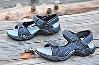 Босоножки на липучках мужские темно серые практичные и удобные стелька натуральная кожа (Код: 1153а), фото 1