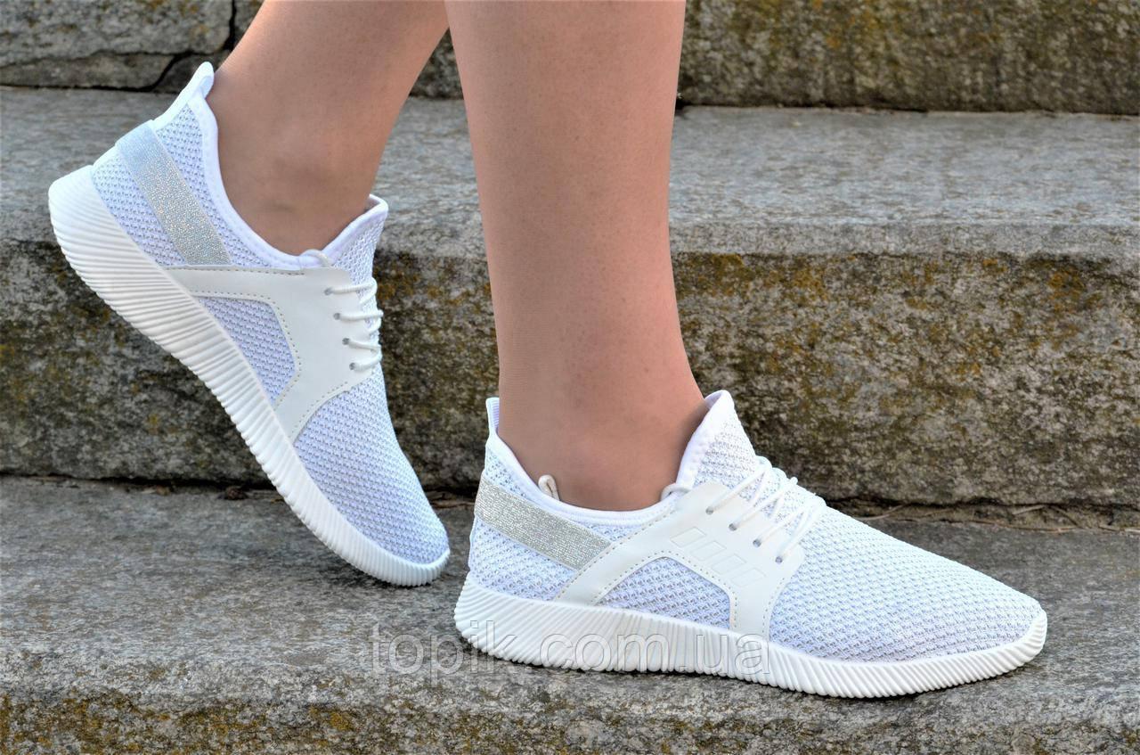 Кросовки, мокасины женские подростковые белые плотный текстиль практичные (Код: 1164а)