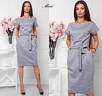 Трикотажное миди платье серого цвета, фото 1
