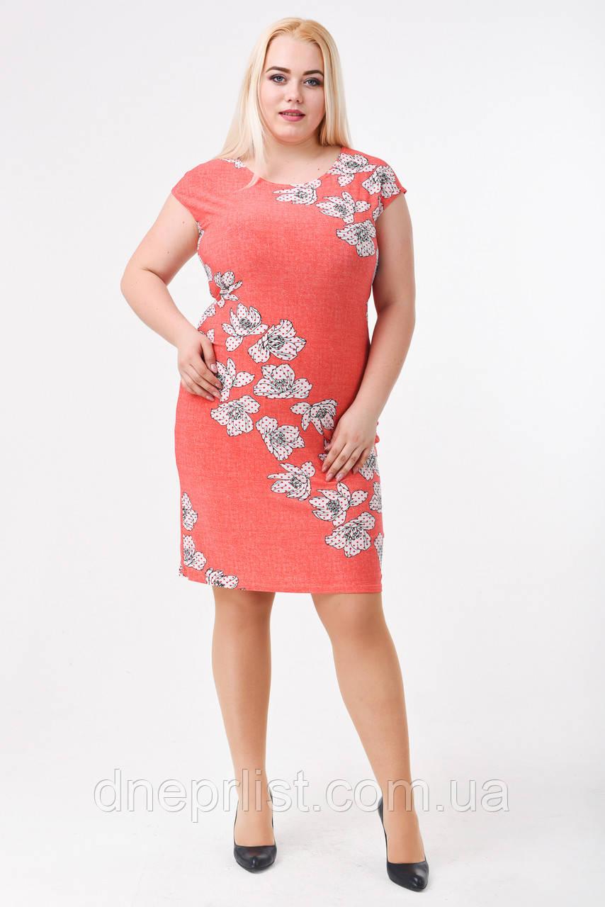 Платье женское Цветы (р. 48-62) коралл