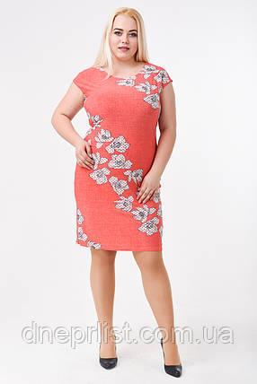Платье женское Цветы (р. 48-62) коралл, фото 2