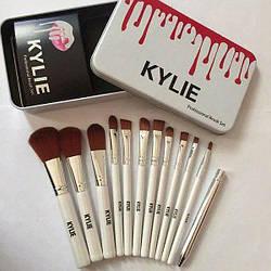 Набор кистей для макияжа Kylie Make-up brush set в металлическом контейнере 12 штук