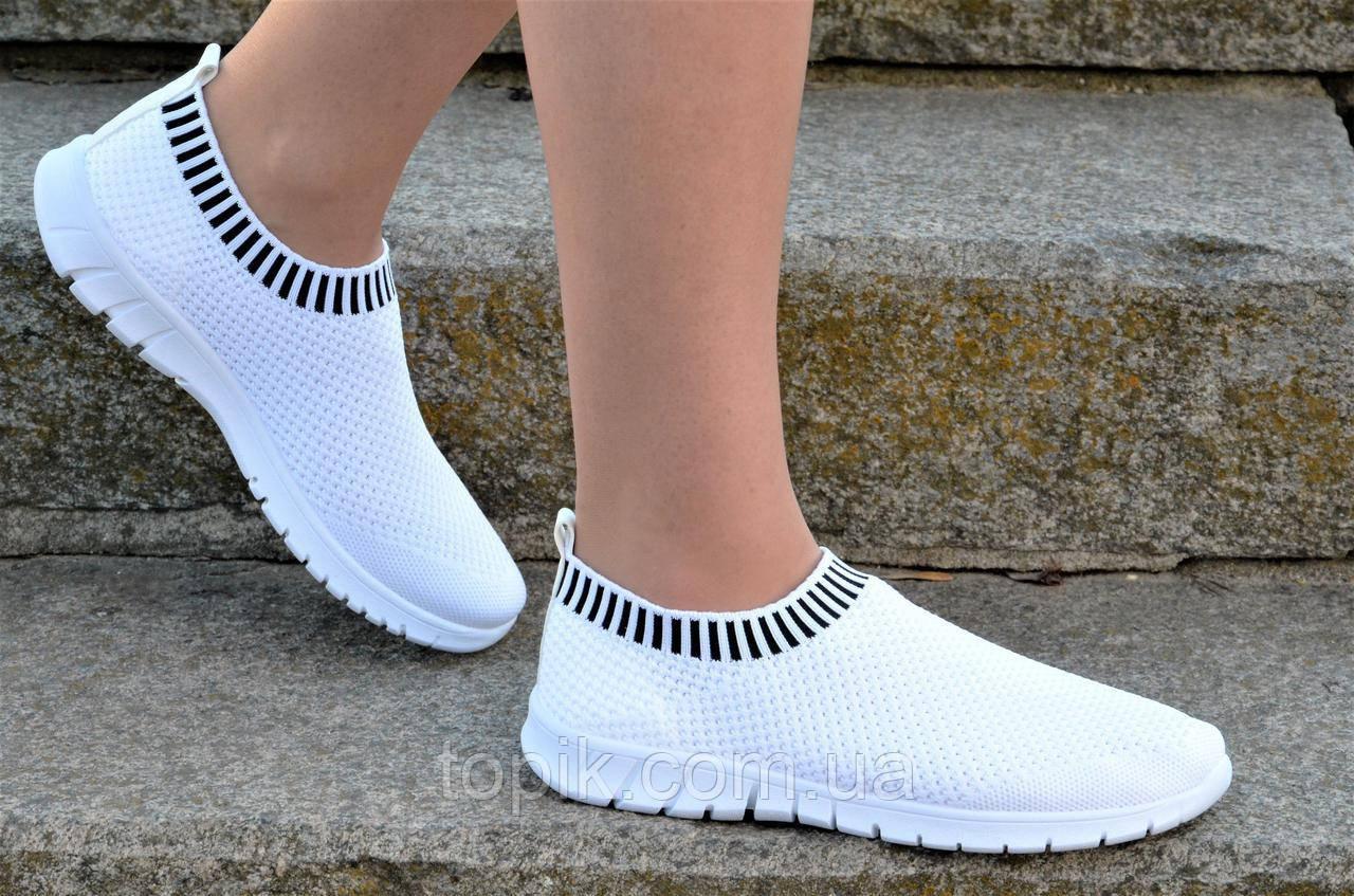 9ac199c7f9510d Мокасины слипоны женские подростковые белые плотный текстиль модные (Код:  1170а)