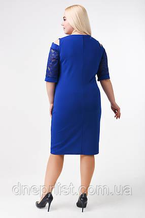 Платье женское резанный рукав (р. 50-54) синий, фото 2