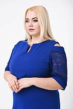 Платье женское резанный рукав (р. 50-54) синий, фото 3