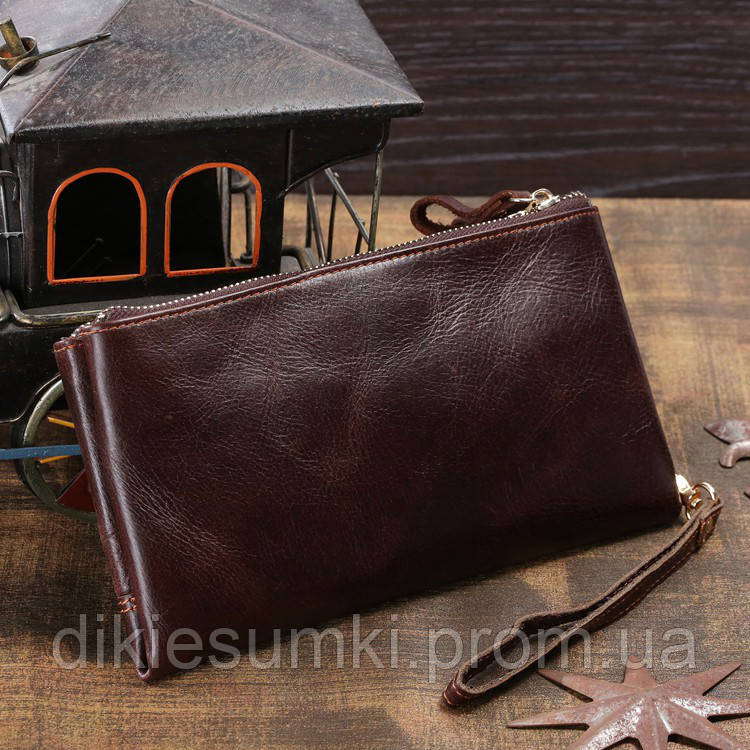ebe9c8cf8619 Мужской клатч портмоне мужской кожаный TIDING BAG 8027С кофейного цвета