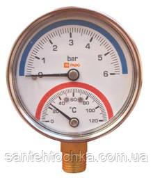 "Термоманометр FADO вертикальний Д63 ½ "" 120°С 6 бар, фото 2"