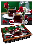 Поднос в постель Чайная роза Подарок на 8 марта