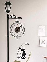 """Настенные Виниловые Часы наклейки """"Кошачий фонарь"""""""