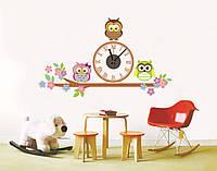 """Настенные Виниловые Часы наклейки """"3 совы"""""""