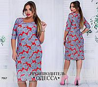 Платье R-7967 синий+красный