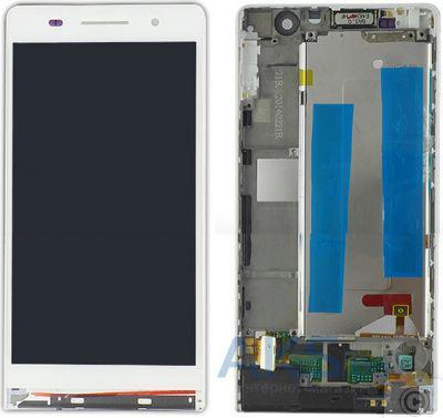 Дисплей (экран) для телефона Huawei Ascend P6-U06 + Touchscreen with frame  Original White - Bigl ua