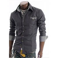 Рубашка мужская с вставками в клеточку, фото 1