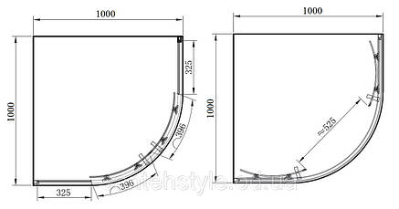 Полукруглая душевая кабина Primera FRAME SHQG51106 1000х1000х1900, фото 2