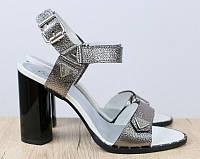 Босоножки кожаные никель на устойчивом каблуке, фото 1