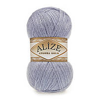 Турецкая пряжа для вязания Alize Angora Gold (ангора голд) 21 серый