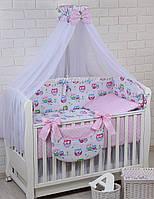"""Комплект постельного белья Asik Совы на голубой ветке и горошек на розовом"""" 8 предметов (8-229)"""