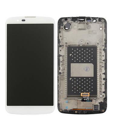 Дисплей (экран) для LG K410TV K10TV с сенсором (тачскрином) и рамкой с микросхемой белый, фото 2