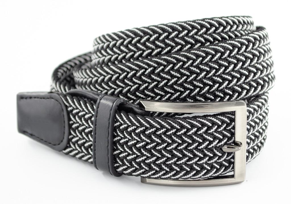 Красивый текстильный мужской ремень черного цвета с белой нитью и хромированной пряжкой Alon (Алон)