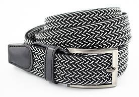 Гарний текстильний чоловічий ремінь чорного кольору з білою ниткою і хромованою пряжкою Alon (Алон)